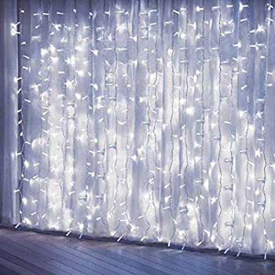Curtain Lights, Upgrade 8 Lighting Modes Window Fairy Hanging Light, Icicle Christmas Ornaments Lights for Decoration Party Wedding Bedroom (Cool White) by PLTCAT
