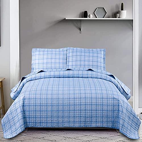 Blaues Plaid-Bettwäsche-Set für Doppelbetten, Gittermuster, Tagesdecke, Tagesdecke, Tagesdecke, leicht, weich, Gingham-Karo, für alle Jahreszeiten, Bettlaken mit 2 Kissenbezügen