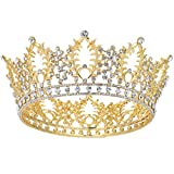 Makone Vintage Crowns for Women, Queen Princess Crown Tiaras with Crystal, Girls Adult Bridal Hair Accessories Gifts for Christmas Halloween Costume, Birthday Party, Wedding Prom, Pageant - Gold