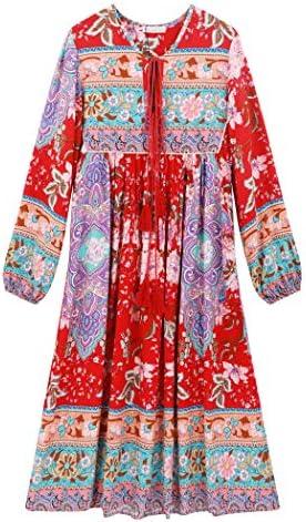 R Vivimos Women s Long Sleeve Floral Print Retro V Neck Tassel Bohemian Midi Dresses Medium product image