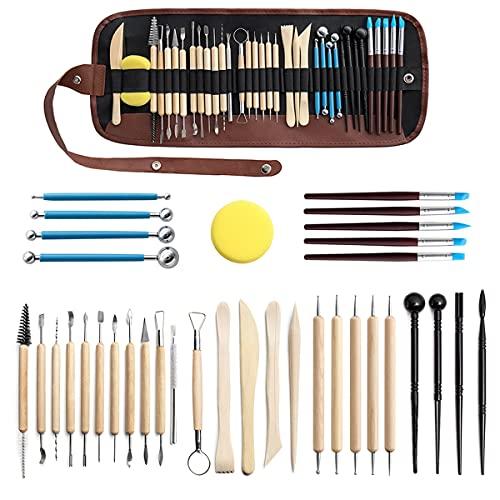 Sooair Juego de 36 herramientas de modelado para alfarería y artistas, con bolsa de almacenamiento, para profesionales y principiantes