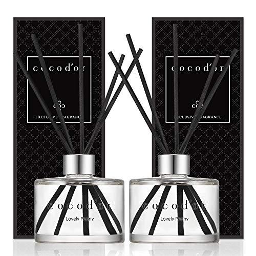 Cocod'or | Lovely Peony | charakteristische Duftvase mit Duftöl und 5 Faser-Schilfstäbchen, 2er-Packung, 200 ml, ideal für zu Häuser, Küchen, Bäder. Eine große Vielzahl von Düften für Aromatherapie