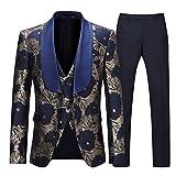 3 piezas color azul marino estampado floral Chal para hombre Sliktaa