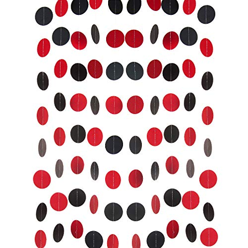 WEVEN Red and Black Paper Garland Circle Dot Party Garland Banner Streamer Backdrop Hanging Decorations, 2' in Diameter, Pack of 3, 30 Feet in Total