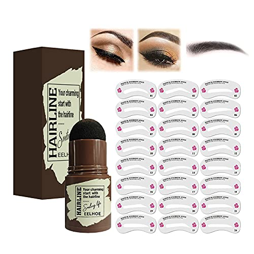 Einstufiges Augenbrauen Stempel Formungsset, Augenbrauen-Puder-Stempel-Make-up mit 24 wiederverwendbaren Augenbrauen Schablonen, langanhaltendes Augenbrauen...