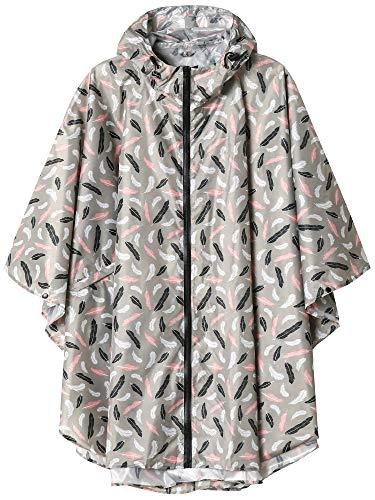 Summer Mae Regen Poncho Jacke Mantel für Erwachsene mit Kapuze wasserdicht mit Reißverschluss im Freien,Einheitsgröße,Feder