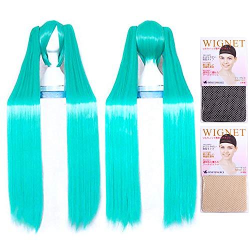 (Two wig + Stand + hair net) [cosplay wig 120cm heat-resistant high-quality Genuine] Hatsune Miku super long straight mix Emerald Green Vocaloid CaseEden original set of 4 (japan import)