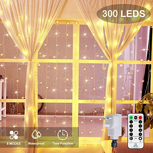 Ollny Curtain Fairy Lights Plug in 300 LEDs 3m x 3m,...