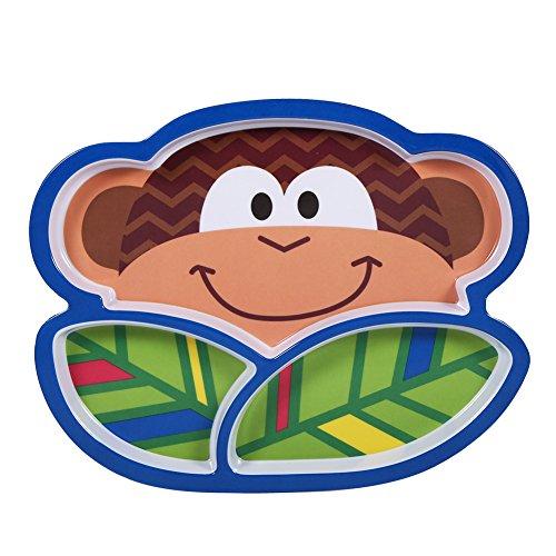 Plato para comer Plato de resina con forma de animal precioso Plato de plato dividido antideslizante Plato para platos de dibujos animados para niños pequeños(Monkey)