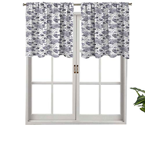 Hiiiman Short Straight Drape Valance Floral Patterns Victorian Inspired Roses Dark Flowers in Mod, Set of 1, 50'x18' for Kitchen Windows