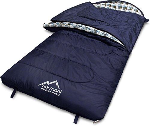 normani 4-in-1-Funktion Extrem Outdoor Schlafsack \'Antarctica\' aus Nylon Rip-Stop mit 500 + 250 g/m² Hollow Fiber Füllung 220 x 90 cm Farbe Blau Größe Rechts