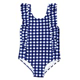 SwimZip Girls Ruffle One Piece Swimsuit - UPF 50+ - Navy Gingham - 12-18 Month
