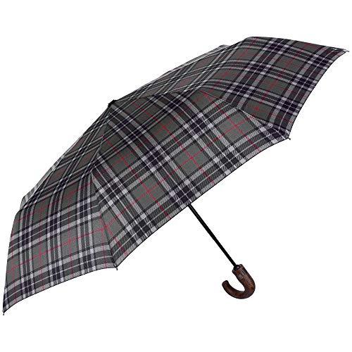 Paraguas Plegable Hombre Escoces Verde Mango Curvo - Mini Estampado Cu