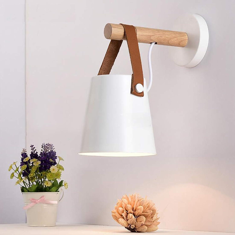Wandleuchte LED einfache kreative Holz Kunst Eisen Tasche Wandleuchte Restaurant Schlafzimmer Studie Wohnzimmer Wandleuchte,Weiß