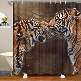 Loussiesd Cortina de baño de tigre 3D con diseño de animales salvajes y vida silvestre, juego de cortina de ducha para adolescentes, parejas, bañeras, cortinas impermeables de lujo de 72 x 84 pulgadas
