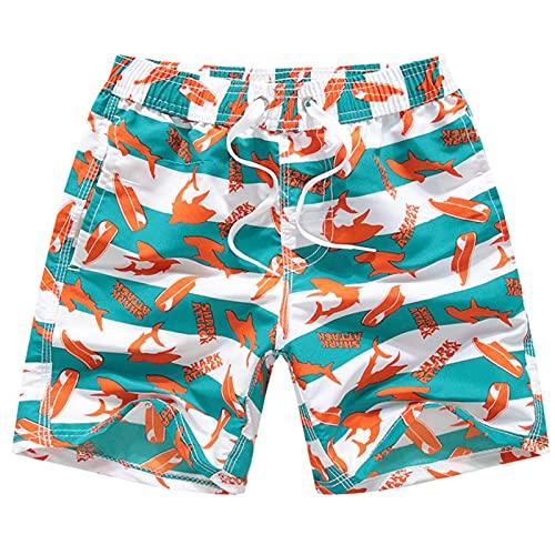 水着 キッズ 男児用 サーフパンツ ポケット 裏地付き UV対策速乾子供 短パン 男の子 海水パンツ (赤い魚, 9?10歳)