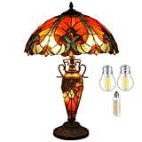 Tiffany Lamp (3LED Bulb Included) W16H24 Inch 3 Bulb Red Stained Glass Liaison Lampshade Antique Coffee Table Desk Night Light Base S160R WERFACTORY LAMPS Lover Living Room Reading Nightstand Art Gift