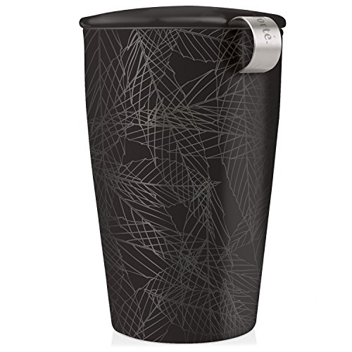 Tea Forte Kati Cup Ceramic Tea Infuser Cup with Infuser Basket and Lid for Steeping, Noir