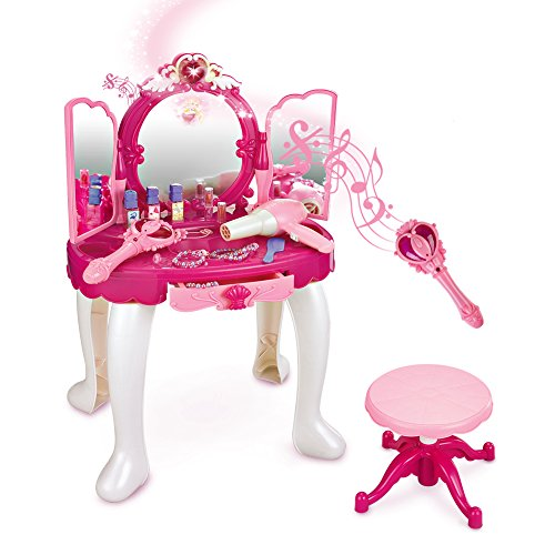 SainSmart Jr. Pretend Princess Girls Vanity Table with Fairy Infrared Control and MP3 Music Playing, Princess Dressing Makeup Table, with Mirror, Cosmetics and Working Hair Dryer