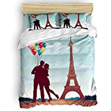 CosyBright 4 Piece Bedding Sets - Lovers Under The Romantic Paris Tower Bedroom Decorative 1 Flat Sheet 1 Duvet Cover and 2 Pillow Cases - Twin Size