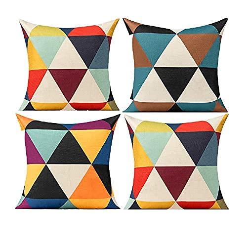 All Smiles Fundas de Cojines y Almohada Triángulo Geométrico Exterior Colorido Cubierta 50X50cm, 4PC Amarillo Azul Púrpura púrpura Rojo