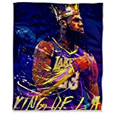Los Angeles Lakers King James Luxury Microfiber Blanket 60' x 80', Sports Poster MVP Basketball Player Lebron Fuzzy Flannel Blanket Throw for Couch Sofa Bed
