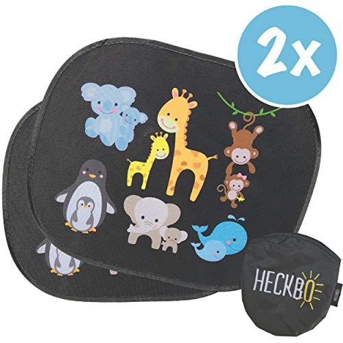 HECKBO® Parasol autoadhesivo para coche - protección solar para niños (2 piezas) | Animales bebés con momia | protección solar para ventanillas de coche | 44x 36cm | parasol para coche con bolsa incl