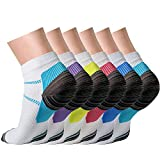 CHARMKING Compression Socks for Women & Men Circulation (3/6/7 Pairs) 15-20 mmHg is Best for Athletic Running Cycling