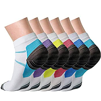 CHARMKING Compression Socks Women & Men 6 Pairs 15-20 mmHg is Best Graduated Athletic for Running Flight Travel Pregnant Cycling Support -Boost Performance Flexibility Durability Multi 01,S/M