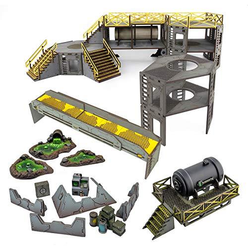 War World Gaming Industry of War - Instalación de Almacenamiento de Combustible - Kit 4, Sin Pintar - 28mm Terreno Escenografía Wargames Wargaming WWG Industrial Tablero Escenario Campo Batalla