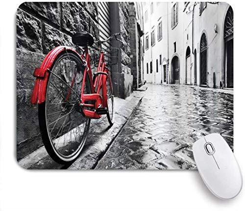 Mausmatte Mauspad Fahrrad klassisches Fahrrad auf Kopfsteinpflaster Straße in der italienischen Stadt Freizeit Charme künstlerisches Foto kundenspezifische Kunst Mauspad rutschfeste Gummibasis für Com
