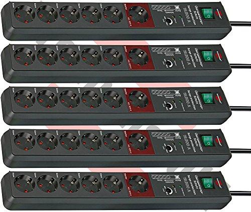 5er Sparpack Brennenstuhl Secure-Tec, Steckdosenleiste mit Überspannungsschutz und Master Slave Funktion (3m Kabel und Schalter) Farbe: anthrazit (6-Fach)