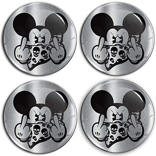 Biomar Labs® 4 x 60mm Aufkleber 3D Silikon Mickey Mouse Mittelfinger Micky Maus Für Radkappen Nabenkappen Radnabendeckel Rad-Aufkleber Nabendeckel A 9560