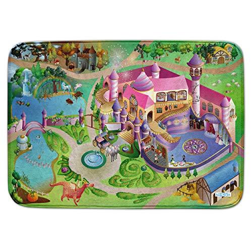 Pink Papaya Spiel-Teppich für Kinder, Ultra-weiche Straßen-Matte, 100 x 150 cm Straßenteppich Prinzessin, Prinzessinnen-Schloss mit Einhorn, Hexenhaus und Drache, für Jungen und Mädchen