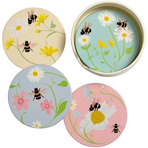 Transomnia Bee Happy rotonda in ceramica, set di 4sottobicchieri con supporto