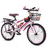 WENTING Bicicletta per Bambini, 20/22/24 Pollici Bicicletta per Bambini con Stabilizzatori, Freno A Disco Daul, Bici da Ragazzo con Telaio in Acciaio Ad Alto Tenore di Carbonio,Rosa,22inch