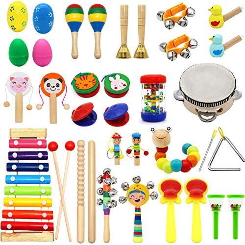 PETUOL Kids Musical Instruments 36pcs Wooden Percussion Instruments Tambourine Xylophone Toys for Kids Early Learning Toys