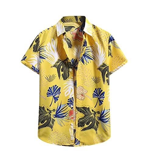 Camisa hawaiana para hombre, de verano, informal, con flores, manga corta, corte ajustado. G_amarillo. XXL