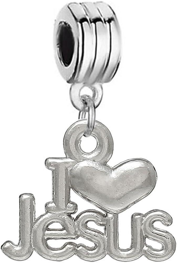 I Love Jesus Dangle Bead Spacer for Snake Chain Charm Bracelet