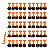 Sqxaldm Niveladores de Azulejos Kit de Sistema Nivelación Azulejos Niveladores de Azulejos Reutilizables Espaciadores Niveladores Azulejo con Llave Especial Sistema de Nivelación Azulejos(50 Piezas)