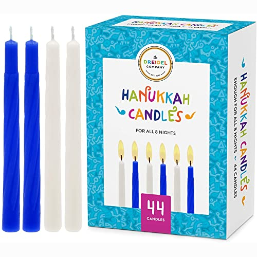 The Dreidel Company Menorah Candles Chanukah Candles 44 White and Blue Hanukkah Candles for All 8 Nights of Chanukah (Single Box)