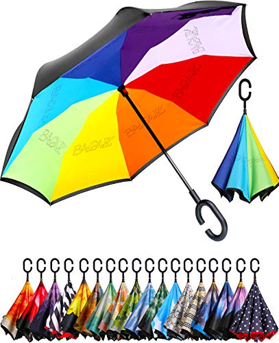BAGAIL Double Layer Inverted Umbrella Reverse Folding Umbrellas Windproof UV Protection Big Straight Umbrella for Car Rain Outdoor with C-Shaped Handle (Rainbows)