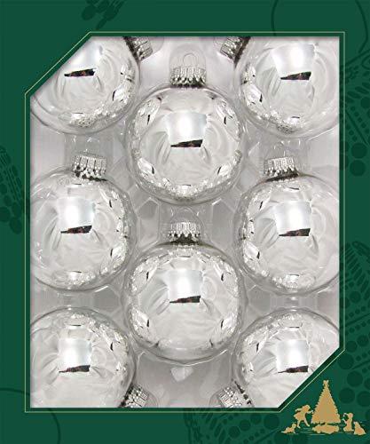 Dekohelden24 Lauschaer Christbaumschmuck - 8er Set Kugeln Uni Silber glänzend, 6,7 cm, mit silbernem Krönchen + 50 Schnellaufhänger in Silber GRATIS zu Ihrer Bestellung dazu !