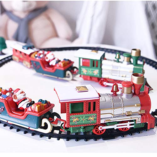 Christmas Train Set with Realistic Sound and Lighting Battery Operated Classic Railway Train Sets Round Railway Tracks for Under The Tree Toys for Kids Children Xmas Gifts Boys Girls (Light)