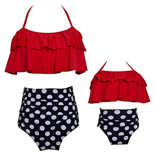 Bonfor Bikini Niña 2-12 años & Bikinis Mujer 2021 Brasileños Braga Alta Marca Volantes - Ropa de Baño Madre e Hija, Tajes de Baño de Dos Piezas TMOYJPX (Rojo~a, 10-12 años)