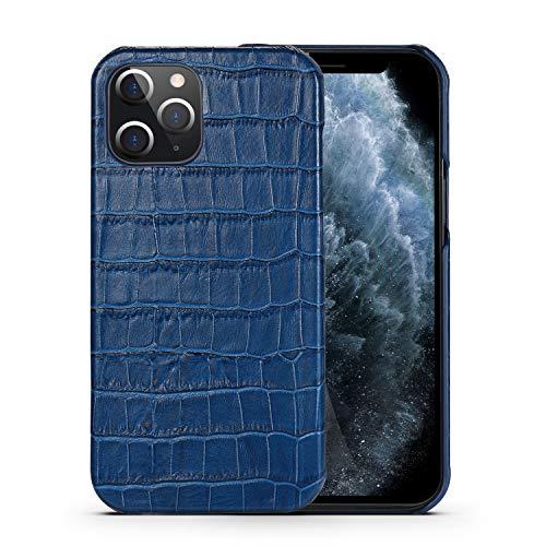 nincyee Piel Genuina Funda para iPhone 12 Pro MAX,Clásico Hecho a Mano Cocodrilo Patrón Medio Envuelto Cuero Real Funda Ajustado