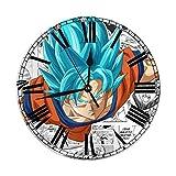 Reloj de Pared con Pilas Redondo Dragon Ball Z Super Blue Son Goku Kakarotto Estilo Redondo, silencioso Reloj de Pared sin tictac