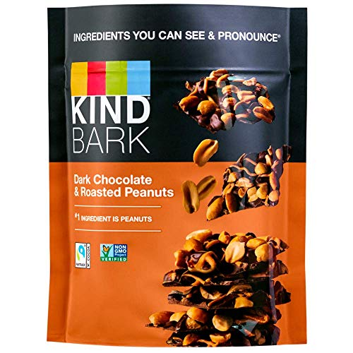 Kind BARK - Dark Chocolate, 3.6oz Resealable Bag, Ingredients You Can See & Pronounce (Roasted Peanuts, 1 Bag) from Sbux