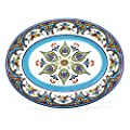 "EuroCeramica Zanzibar Collection Vibrant Kitchen and Dining Serveware, 18"" Oval Platter, Spanish Floral Design, Multicolor Blue and White"