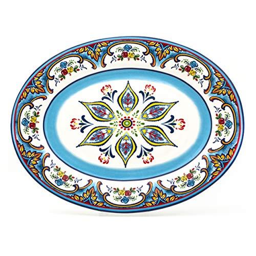 EuroCeramica Zanzibar Collection Vibrant Kitchen and Dining Serveware, 18' Oval Platter, Spanish Floral Design, Multicolor Blue and White